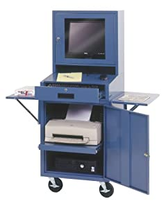Edsal CSC6625BU 24-1/2-Inch Wide by 22-1/2-Inch Deep by 62-3/4-Inch High Mobile LCD Monitor Computer Cabinet, Blue