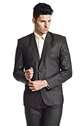 Wintage Men's Poly Viscose Two Buttoned Notch Lapel Festive and Casual Brown Blazer