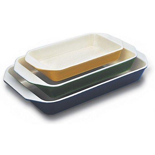 Paderno World Cuisine Red Enamel Cast Iron Rectangular Dish, 8.875 Inch