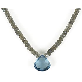 Labradorite Roundels and Light Blue Topaz Briolette Pendant, 17
