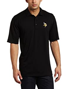NFL Minnesota Vikings Men's Drytec Genre Polo Knit Short Sleeve Top, Black, Large