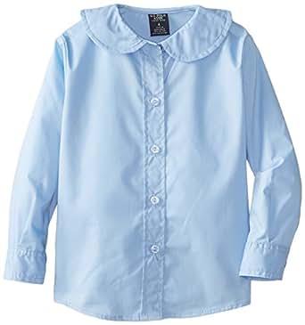 U.S. Polo Association  Little Girls'  Long Sleeve Broadcloth Shirt with Peter Pan Collar, Light Blue, 04