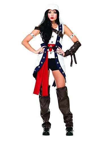 Leg Avenue Women'S Assassin'S Creed 6 Piece Connor Girl, White/Light Blue, Medium