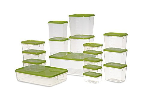 All Time Plastics Polka Container Set, 10.6 Litres, Set of 17, Green