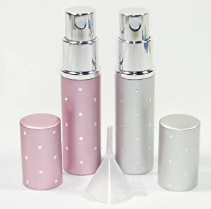 Set of 2 - Purse or Travel 5 Ml or 1/6 Oz. Perfume Atomizers - Glass Bottles with Metal Sprayer - Pink & Silver with Dots