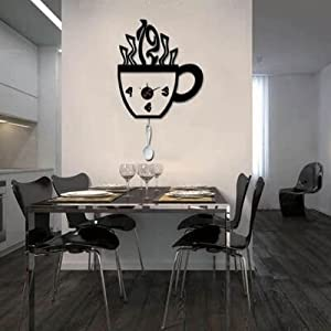 Orologio da parete adesivo vinile tazza 51x80 cm amazon for Orologi da parete adesivi