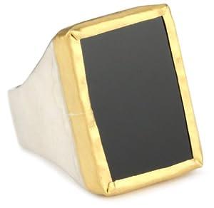 Nava Zahavi Onyx, Sterling Silver and High Karat Gold Ambition Ring, Size 6