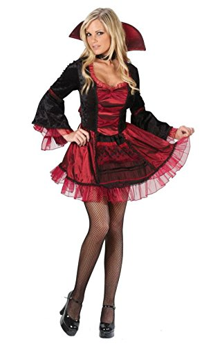 Funworld Womens Sassy Victorian Vampiress Halloween Medieval Dress Costume