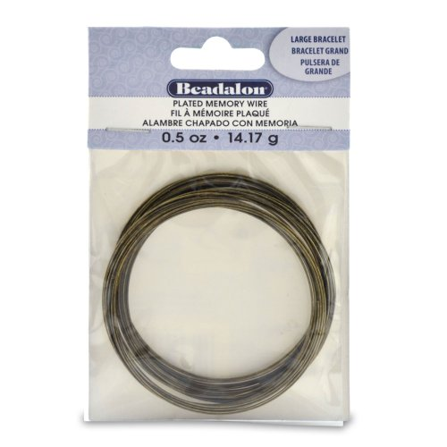 Beadalon Memory Wire Bracelet, Large, Antique Brass, 1/2-Ounce