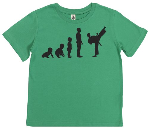 Phunky Buddha - Evolution To Karate Kid'S Unisex T-Shirt 7-8 Yrs - Green front-1017364