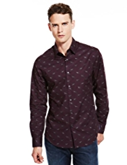 Autograph Pure Cotton Dog Print Slim Fit Shirt