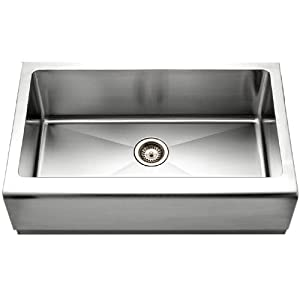 Houzer EPG-3300 Epicure Series Apron Front Farmhouse Stainless Steel Single Bowl Kitchen Sink