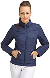 Ozel Studio Women's Regular Fit Jacket (JKT-018_Large, Navy Blue, Large)