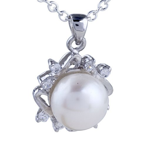 Sterling Silver Victorian Framed Pearl Pendant Necklace