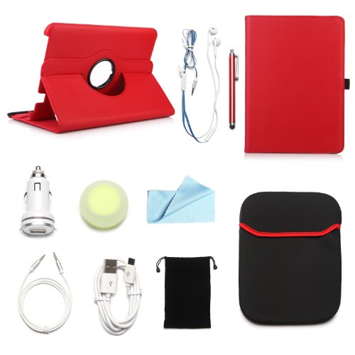 "ARION Kindle 10-Item Accessory Bundle Kit for Amazon Kindle Fire HD 8.9"" Tablet - 360 Rotating Stand PU Leather Case, Cleaning Cloth, Stylus Pen,Car Charger,USB Cable, Aux Cable, Earphone, Wire-holdin"