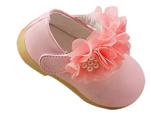 (ラボーグ)La vogue プリンセス風 ベビーシューズ 女の子ファーストシューズ 滑り止め 子供用歩行靴 レース花付き 出産お祝いギフト 快適 3-18ヶ月の赤ちゃんへ ベルト花 ピンク 12.5cm