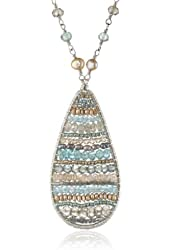 """Dana Kellin Luxurious Sand and Sea Inspired Teardrop Patterned with Rosary Pendant Necklace, 17.5"""""""