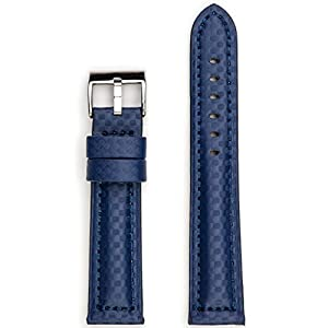 StrapsCo Blue Carbon Fiber Padded Waterproof Watch Band in size 24mm