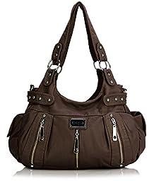 Scarleton 3 Front Zipper Washed Shoulder Bag H129221 - Coffee