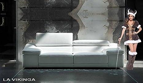 Sofa Original Die vikinga, Leder geschliffen Poltrona con spalliera reg. - 155x64/94x100cm Pelle Smerigliata Grigio Scuro