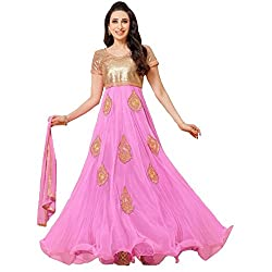 Awesome Fab Beige & Pink Net Semi-Stiched Embroidered Anarkali