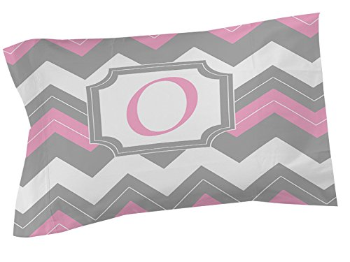 Thumbprintz Pillow Sham, King, Monogrammed Letter O, Pink Chevron front-471180