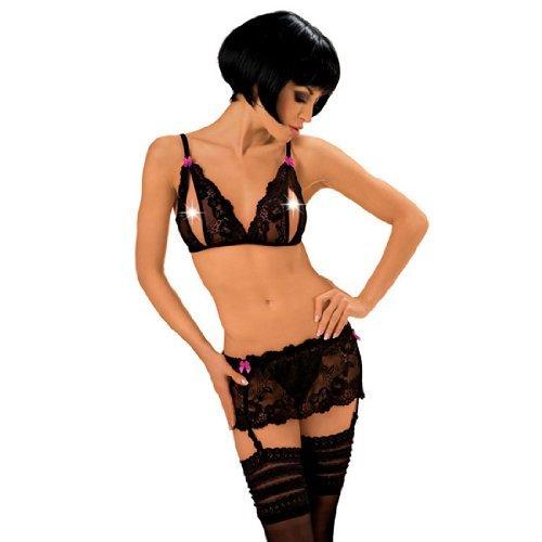 Roxana Sexy Wäsche Set offener BH mit String Schritt und Strapskürtel Gr.L, 1 Stück