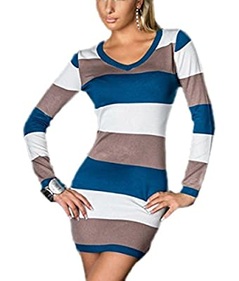 Voberry®New Fashion Women Stripes V-neck Bodycon Mini Dress Clubwear