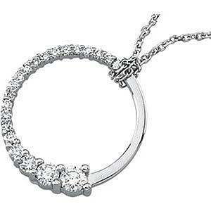 IceCarats Designer Jewelry 18K Yellow Gold Journey Diamond Circle Pendant