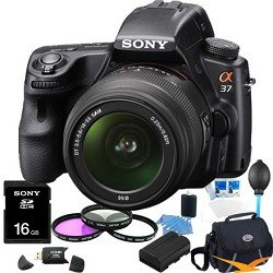 Sony Alpha SLT-A37K 16.1 MP Exmor APS HD CMOS Sensor DSLR with Translucent Mirror Technology and 18-55mm Lens (Black) ULTIMATE BUNDLE with 16GB High Speed Card, Deluxe Filter Kit, Spare Battery, Padded Case+ More