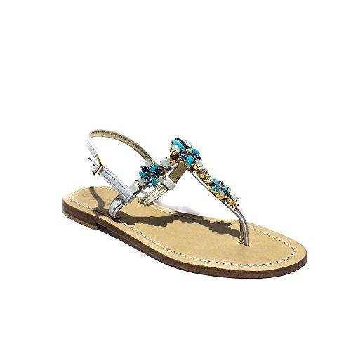 DG Positano sandalo gioiello donna nuovo pelle bianco made in italy art.4630 36