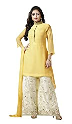 Adaa Women's Georgette Semi Stitched Dress Material (LT-75-07_Yellow_Free Size)