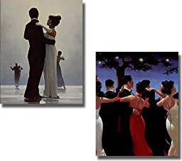 Dance Me to the End of Love & The Waltzers by Jack Vettriano 2-pc Premium Stretched Canvas Set (Ready-to-Hang)
