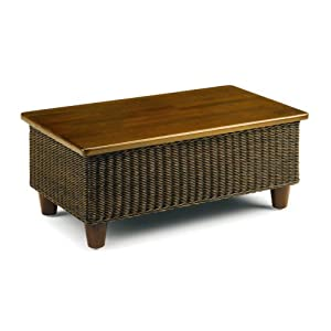 Wicker Coffee Table Brown Wooden Top Conservatory Furniture Rattan Bude
