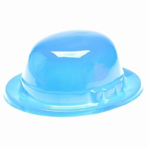 Dozen Plastic Light Blue Bowler Derby Hats