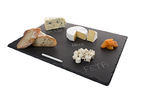 Stone-Age Slate 16-Inch-by-12-Inch cheese board. Launch promotion! Comes with rustic natural edges. Well-packaged tray set includes soapstone chalk pencil. (Cheese Board compare prices)
