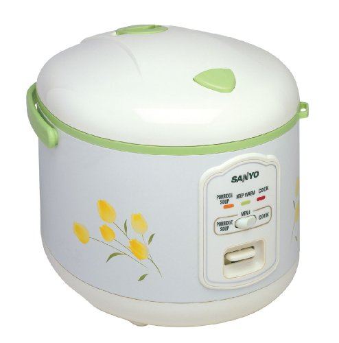 Sanyo ECJ-N55F 5-1/2-Cup Rice Cooker, White with Green Accents and Flower Design