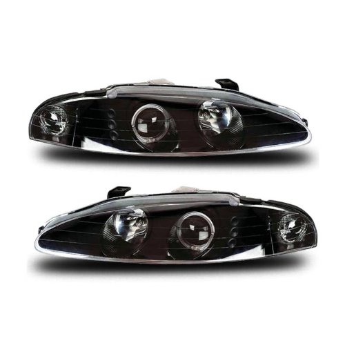 SPPC Projector Headlights G3 2 Halo(Only 1 Will Be On) Black With Led(No Amber) For Mitsubishi Eclipse - (Pair) (95 Eclipse Headlight Assembly compare prices)