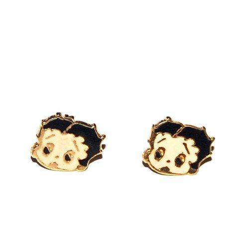 Kids Bijoux-Orecchini placcati oro, motivo: Betty Boop-tono oro