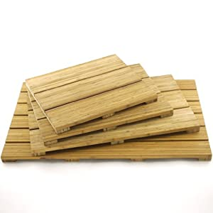 BambooMN Brand - Spa Style Raised Bamboo Bathmat - Small Rectangle