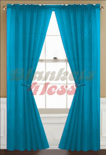 Awad Home Fashion 2 Panels Solid Neon Turquoise Sheer Voile Window Curtain Treatment Drapes 55