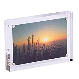 iNINJA(TM) Clear Acrylic Frames Magnet Photo Frame - Picture Frames - Thickness for Double Sided Photo Seethrough,6x8 inch