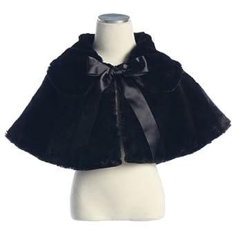 Little Girls Black Faux Fur Special Occasion Cape Jacket 2T