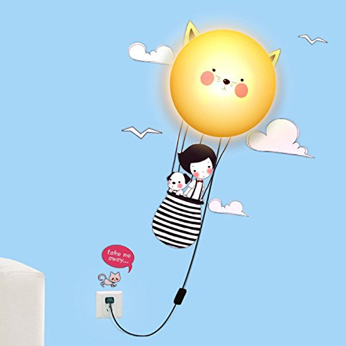 LIWUYOU 3D DIY Cartoon LED Night Light Wall Sticker Hanging Lamp Removable Wallpaper Home Decor for Kids Living Room and Bedroom Beige cat