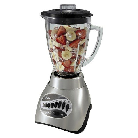 Oster 12-Speed Metallic Gray Blender with 3-Cup Food Processor a7400 3hp bpa free 3 9l commercial professional smoothies powerful blender food mixer juicer with german motor 2800w