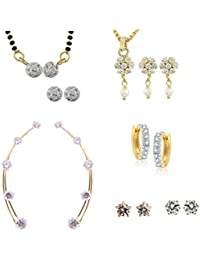 Archi Collection Pack Of Gold Plated CZ Mangalsutra Set, Pendant Set ,Earcuff, Huggie & Stud Earrings (MS3_LT44...