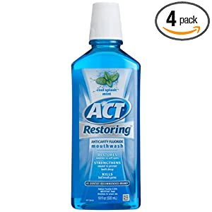 ACT Restoring Mouthwash, Cool Splash Mint, 18-Ounce Bottle (Pack of 4)