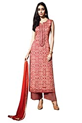 Ishin Cotton Red Embroidered Lace Border Dress Material