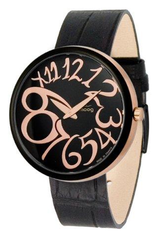 Moog Women's Watch Time to Change M41671-004 Analogue Quartz Black Dial Calfskin Leather Strap Alligator Matt Black