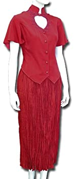 Heart Neck Short Sleeve Bridal Blouse and Broomstick Skirt Set in Red Blue